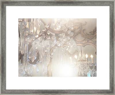 Paris Dreamy White Gold Ghostly Crystal Chandelier Mirrored Reflection - Paris Crystal Chandeliers Framed Print