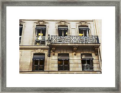 Paris Window Balcony Architecture - Paris Black Gold Building Black Balcony Window Art Framed Print by Kathy Fornal