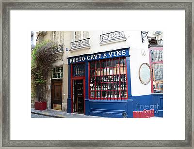 Paris Wine Shop Resto Cave A Vins - Paris Street Architecture Photography Framed Print by Kathy Fornal