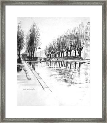 Paris Winter Canal Framed Print