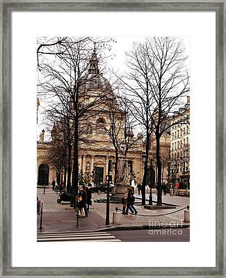 Paris Winter City Streets Architecture Buildings People Winter Street Scene Photos Framed Print by Kathy Fornal