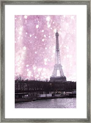 Paris Winter Eiffel Tower - Dreamy Surreal Paris In Pink Eiffel Tower Snow Winter Landscape Framed Print by Kathy Fornal