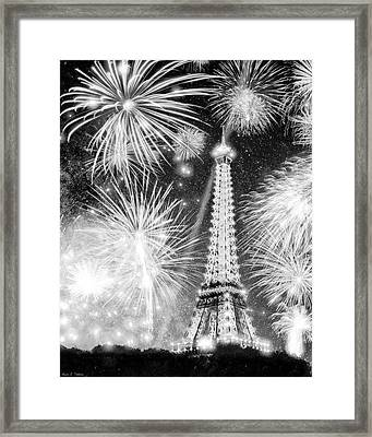 Parisian Fireworks Over The Eiffel Tower Framed Print by Mark E Tisdale