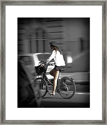 Parisian Girl Cyclist Framed Print by Maj Seda