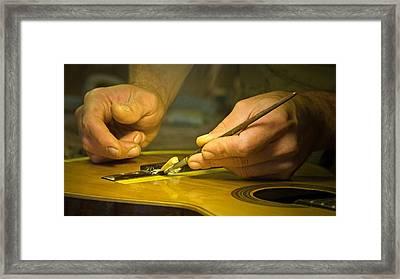 Parisian Luthier At Work Framed Print by Kent Sorensen