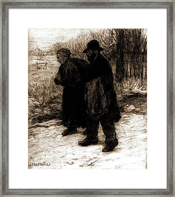 Parisian Rag Pickers, Raffaelli, Jean Francois, 1850-1924 Framed Print by Litz Collection