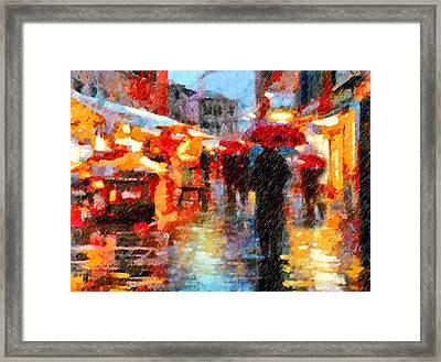 Parisian Rain Walk Abstract Realism Framed Print