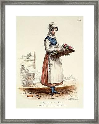 Parisian Rose Seller, Print Made Framed Print by Carle Vernet
