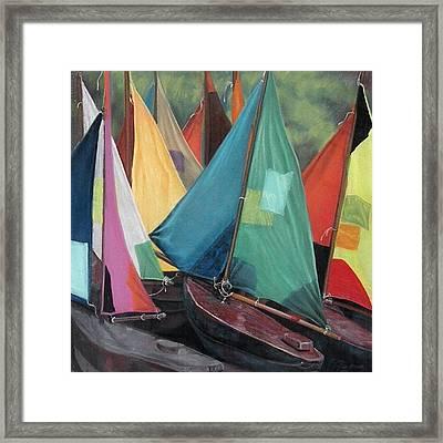 Parisian Sailboats Framed Print by Kathleen English-Barrett