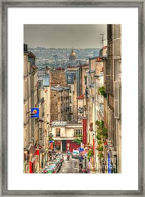Parisian Street View Framed Print by Malu Couttolenc