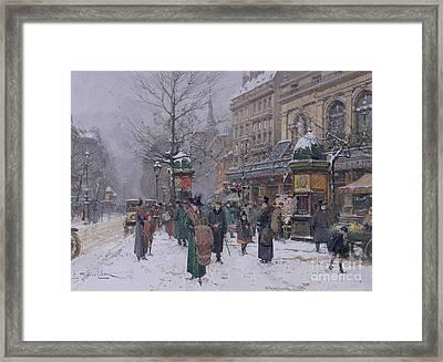 Parisian Street Scene Framed Print by Eugene Galien-Laloue