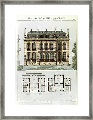 Parisian Suburban House And Plans Framed Print