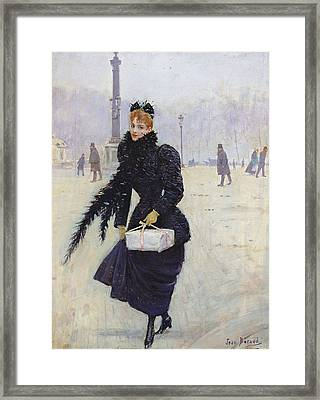 Parisian Woman In The Place De La Concorde, C.1890 Oil On Canvas Framed Print by Jean Beraud