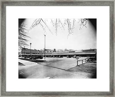 Park & Shop Early Strip Mall Framed Print