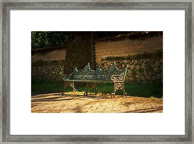 Park Bench Framed Print by Aged Pixel