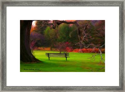 Framed Print featuring the painting Park Bench by Bruce Nutting