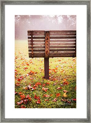 Park Bench In Autumn Framed Print by Edward Fielding