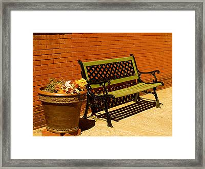 Framed Print featuring the photograph Park Bench by Roseann Errigo