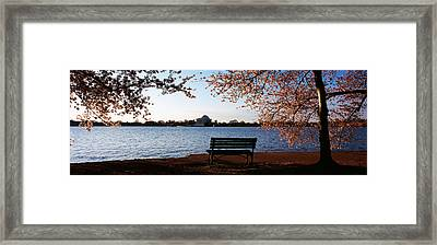 Park Bench With A Memorial Framed Print