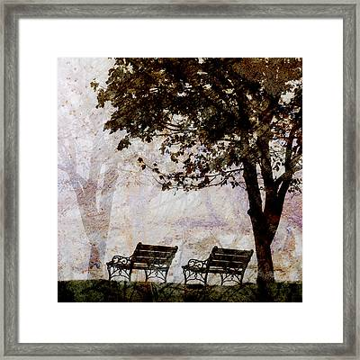 Park Benches Square Framed Print by Carol Leigh