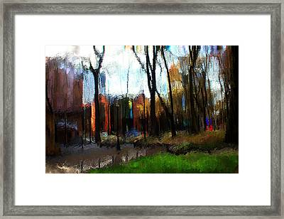 Framed Print featuring the mixed media Park Block I by Terence Morrissey