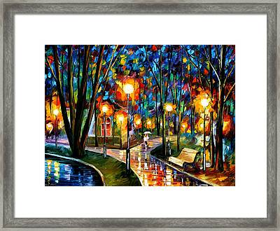 Park By The Lake - Palette Knife Oil Painting On Canvas By Leonid Afremov Framed Print