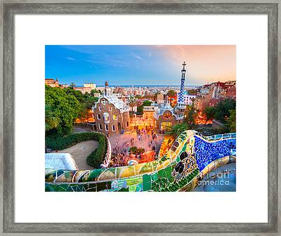 Park Guell In Barcelona - Spain Framed Print by Luciano Mortula