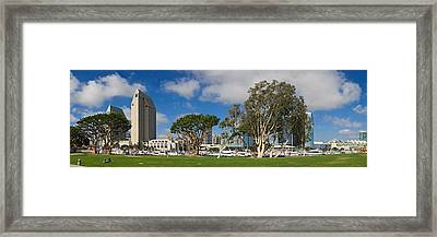 Park In A City, Embarcadero Marina Framed Print by Panoramic Images