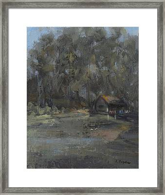 Park Pond And Boat House Framed Print
