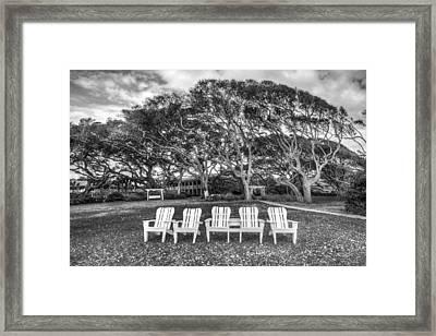 Park Under The Oaks Framed Print by Debra and Dave Vanderlaan