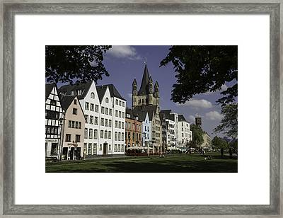 Park View Of Brewpubs And Great St Martins Church In Cologne Framed Print by Teresa Mucha