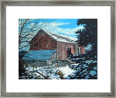 Parker Road Barn Framed Print by William  Brody