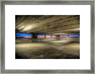 Parking Deck Sunset Framed Print by Micah Goff