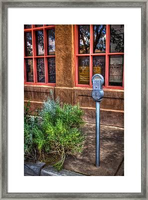 Framed Print featuring the photograph Parking Meter On Sidewalk by Dave Garner