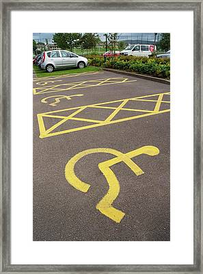 Parking Spaces For Disabled Drivers. Framed Print