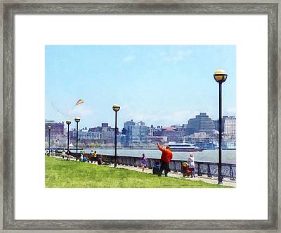 Parks - Flying A Kite At Pier A Park Hoboken Nj Framed Print