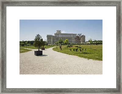 Parliament At Summer Bucharest Framed Print by Ioan Panaite