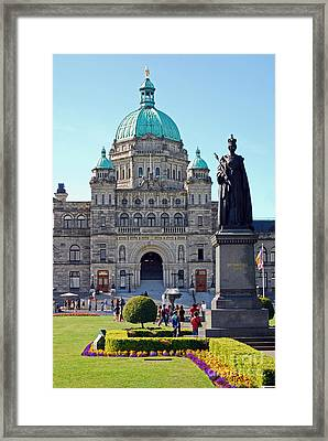Parliament Building Dome. Victoria British Columbia Framed Print by Connie Fox