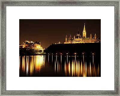 Parliament Hill And The Chateau Laurier Framed Print