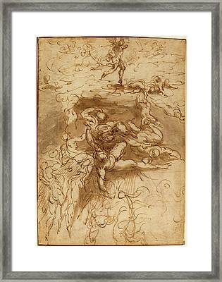 Parmigianino, Italian 1503-1540, The Fall Of The Rebel Framed Print by Litz Collection
