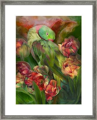 Parrot In Parrot Tulips Framed Print