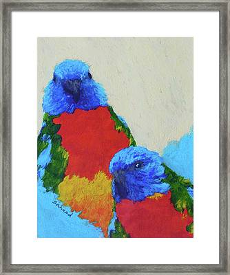 Framed Print featuring the painting Parrot Pair by Margaret Saheed