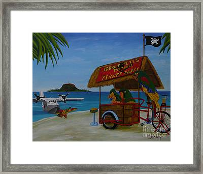 Parrot Pete's Portable Pirate Party Framed Print by Anthony Dunphy