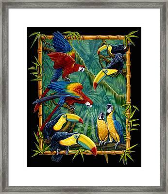 parrots Black Framed Print by Larry Taugher