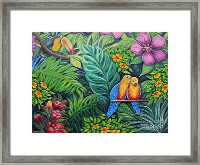Parrots Jungle Love Scene Framed Print by Drinka Mercep