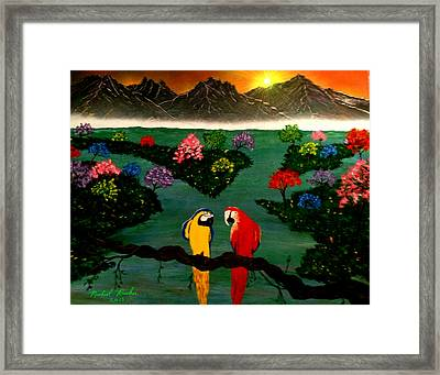Framed Print featuring the painting Parrots by Michael Rucker