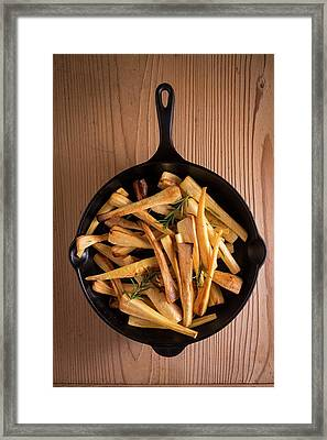 Parsnips In Frying Pan Framed Print