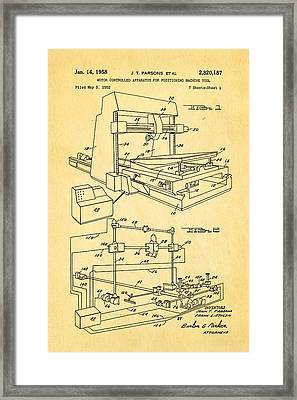 Parsons Numeric Machine Control Patent Art 1958 Framed Print by Ian Monk