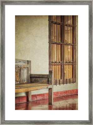 Part Of A Bench Framed Print by Joan Carroll