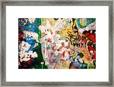 Part Of Berlin Wall With Graffiti Framed Print by Michal Bednarek